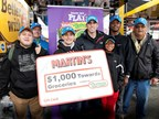 NASCAR driver Aric Almirola presented representatives from United Methodist Family Services with a MARTIN's Food Markets gift card worth $1,000 towards the purchase of groceries, courtesy of Nathan's Famous.