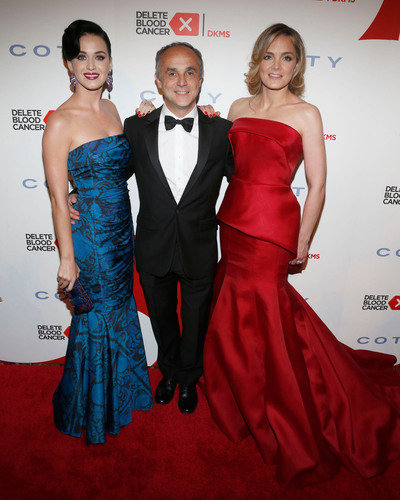 Artist Katy Perry, Coty Inc. CEO Michele Scannavini and Delete Blood Cancer co-founder Katharina Harf at the ...