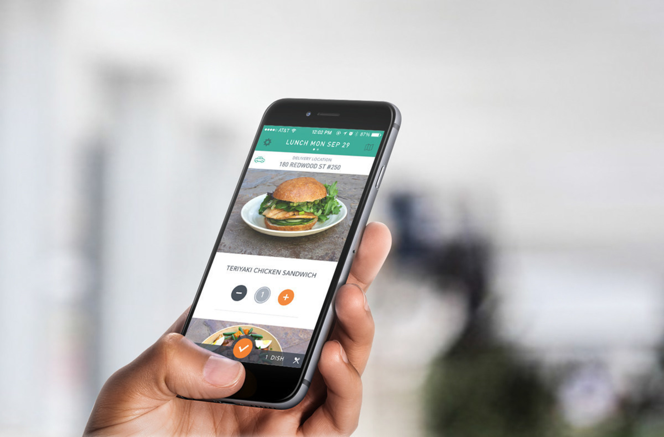 With just a few taps on the Sprig iPhone or Android app, choose from three healthy, ready to eat meal options to be delivered in 15 minutes.