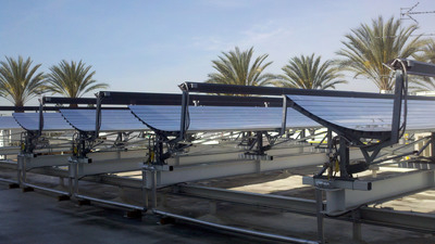 SoCalGas has launched a multi-year demonstration of new rooftop solar cogeneration technology that produces electricity and hot water at the same time at its Energy Resource Center in Downey, Calif.  (PRNewsFoto/Southern California Gas Co.)