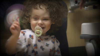 Lily Hall, 2, before her second major reconstruction surgery for rare skin disorder.