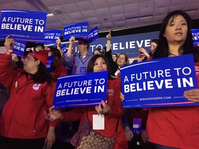 NNU nurses on stage at Sanders celebration Monday night in Des Moines