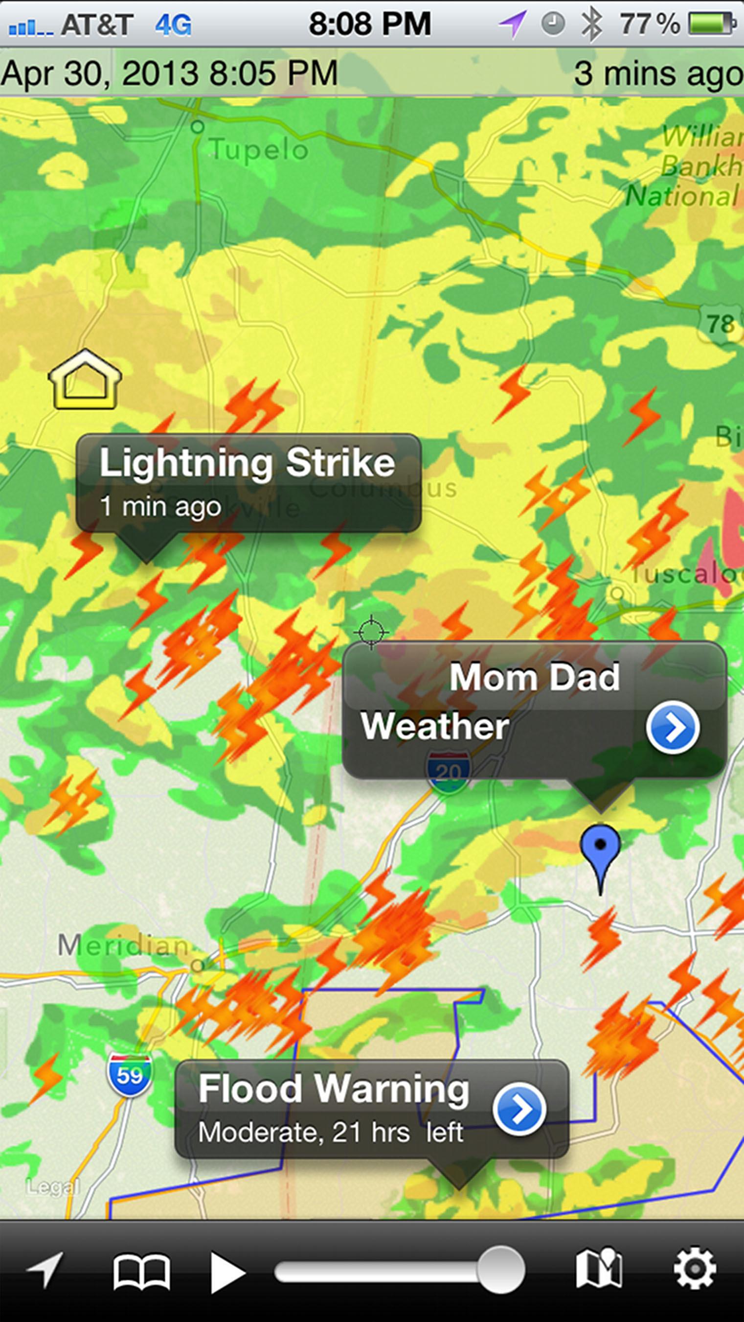WeatherSphere Adds Lightning Strikes To Its Best Selling NOAA Hi-Def Radar App. (PRNewsFoto/WeatherSphere) (PRNewsFoto/WEATHERSPHERE)
