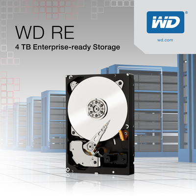 WD(R) Maximizes Enterprise Storage With 4 TB WD RE SAS, WD RE SATA Hard Drives.  (PRNewsFoto/WD)