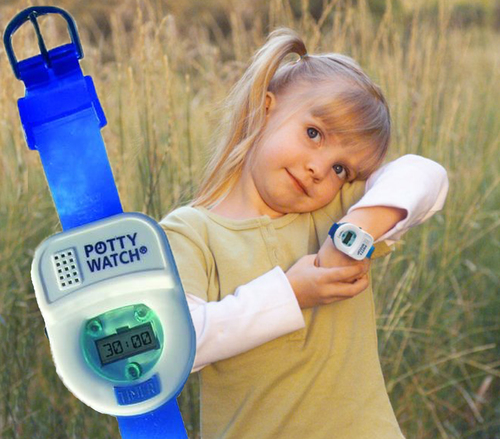 """The Potty Watch(R) lets your little one know when it's time to """"GO!"""" The Potty Watch toilet training timer can be set to go off every 30, 60, or 90 minutes.  Fun """"potty time"""" songs and flashing lights let kids know it's time to """"try,"""" then the timer automatically resets for consistent reminders all day long.  The Potty Watch does the reminding so you don't have to!  This Pediatrician recommended toilet training timer is available at Babies """"R"""" Us, BuyBuy Baby, and independent retailers nationwide.  www.pottytimeinc.com  (801) 523-5080 (PRNewsFoto/Potty Time, Inc.)"""