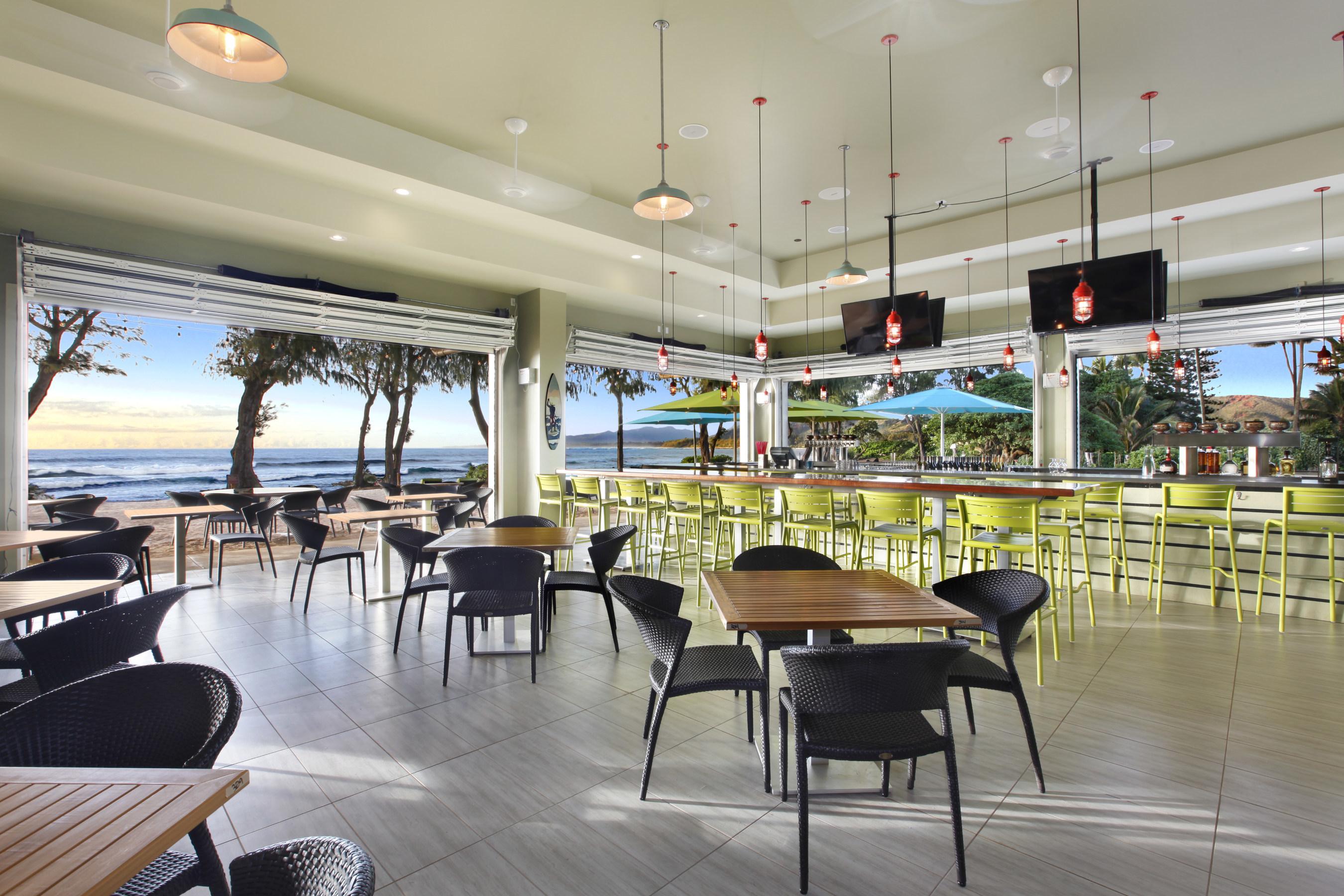 The Lava Lava Beach Club oceanfront restaurant at Kauai Shores, an Aqua Hotel.