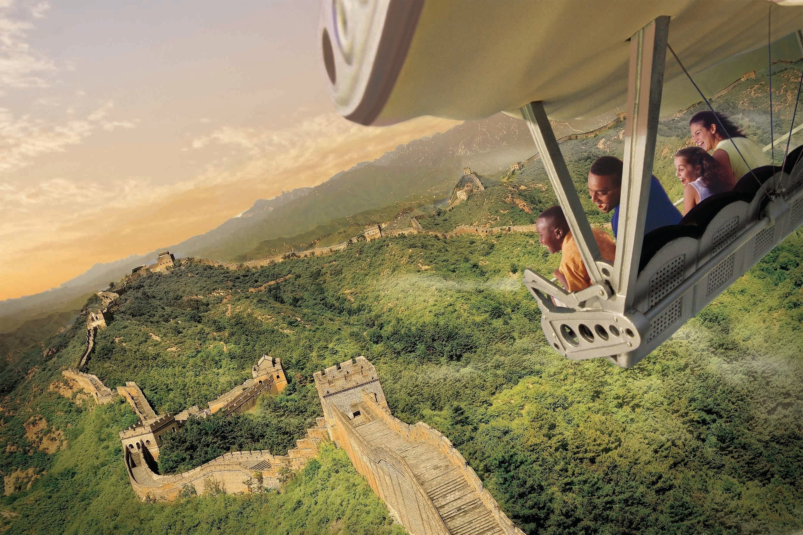 """Guests will celebrate the U.S. debut of the new Soarin' Around the World attraction at The Land pavilion this summer. Now with a third Epcot theater, plus new digital screens and projection systems, the expanded attraction takes guests on an exhilarating """"flight"""" above spectacular global landscapes and man-made wonders. (Photo illustration, Disney)"""