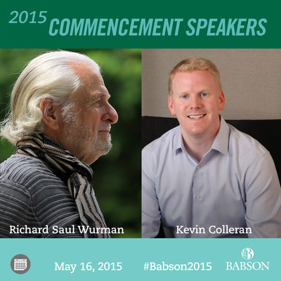 Babson alumnus Kevin Colleran '03, an early Executive at Facebook and current Managing Partner of a top tier venture capital firm, Slow Ventures, and Richard Saul Wurman, a renowned American architect and author who created and chaired the TED (Technology, Entertainment, and Design) Conference, will both be honored during Babson College's 2015 Commencement Ceremonies on May 16, 2015.  Colleran will address the Undergraduate School Ceremony at 10 a.m. and Wurman will address the F.W. Olin Graduate School of Business Ceremony at 3 p.m. Each will receive an Honorary Doctor of Humane Letters.