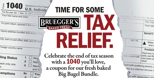 Bruegger's Bagels Offers A Happier Take On The Dreaded '1040' This Tax Season