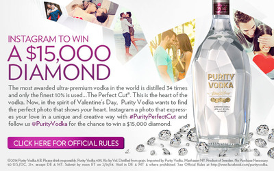 """During Purity Vodka's thirty-four distillations, ninety percent of the liquid is lost and only the """"perfect cut"""" is selected as the heart. Show YOUR heart and Instagram a photo that expresses your perfect cut love with #PurityPerfectCut for the opportunity to win a $15,000 diamond. Be sure to follow @PurityVodka to be eligible. No Purchase Necessary. 50 U.S./DC, 21 , except DE & MT. Submit by noon ET on 2/14/14. Void in DE & MT & where prohibited. See Official Rules at PurityPerfectCut.com/Facebook for complete details. (PRNewsFoto/Purity Vodka, Inc.)"""
