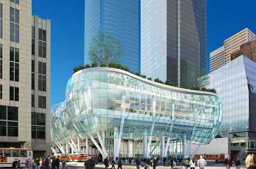 As seen from Beale Street, the exterior glass wall of the Transbay Transit Center is a series of undulating forms. Designed by Pelli Clarke Pelli Architects, the Transbay Transit Center will be the new multi-modal transportation hub for San Francisco. The building is scheduled to open in 2017. Courtesy of Pelli Clarke Pelli Architects. (PRNewsFoto/Pelli Clarke Pelli Architects)