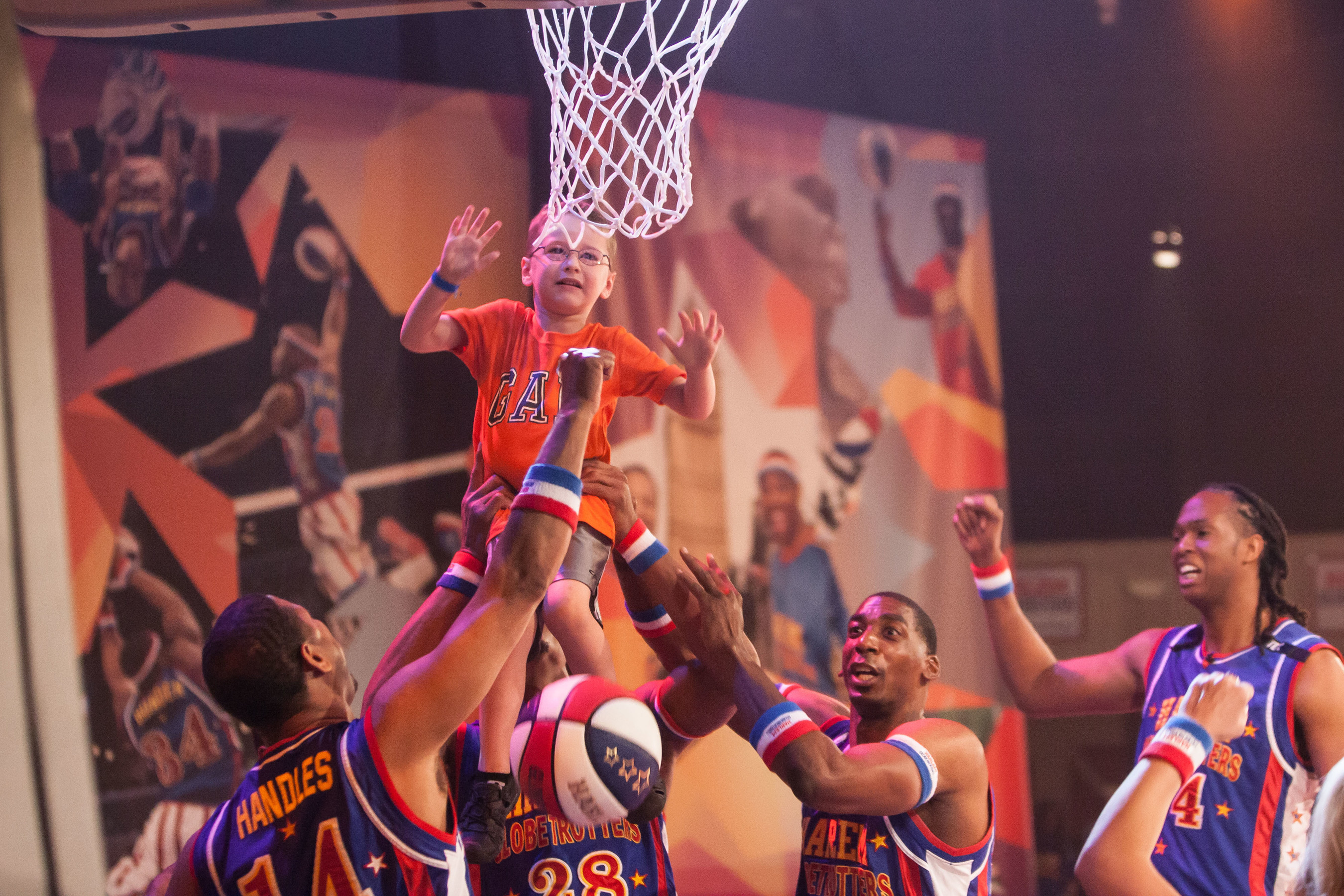 Young fans are part of the action in The Globetrotter Experience, the Harlem Globetrotters' first extended run featured at Silver Dollar City theme park in Branson, Missouri.