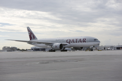 Qatar Airways Makes Its Miami Debut. Five Star Airline Launches 6th U.S. Destination. Only Non-Stop Service from Middle East to Florida, USA (PRNewsFoto/Qatar Airways)
