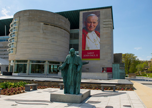 """Among the first to bear the name 'St. John Paul' The National Shrine of Pope John Paul II in Washington, D.C. is hours away from a name change that will take place with the canonization of Pope John Paul in Rome. From then on it will  become known as the """"St. John Paul Shrine."""" (PRNewsFoto/Knights of Columbus )"""