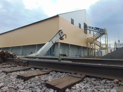 Fabric salt storage structure for Northern Salt, St. Paul, Minnesota. Photo by Legacy Building Solutions.