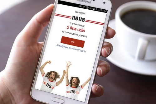 The industry 'first' new Appfrom 118 118offers unlimited calls & connections for fixed monthly fees of Pounds Sterling 2.48 and Pounds Sterling 4.98 respectively on a subscription basis (PRNewsFoto/118 118) (PRNewsFoto/118 118)