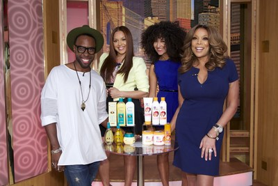 "SoftSheen-Carson Artistic Style Director Johnny Wright and Wendy Williams with two lucky ""Wendy Watchers,"" who received a glam hair makeover from Dark and Lovely Au Naturale and Optimum Amla Legend on The Wendy Williams Show."