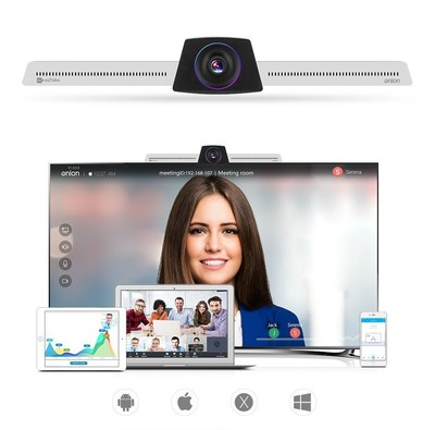 EZTalk Onion, the all-in-one video conferencing equipment supports HD video conferencing, live broadcasting, screen sharing, screen projection, white board annotation along with abundant online meeting control features like live chat, recording, mute audio, make presenter, lock meeting room, remote control and more.
