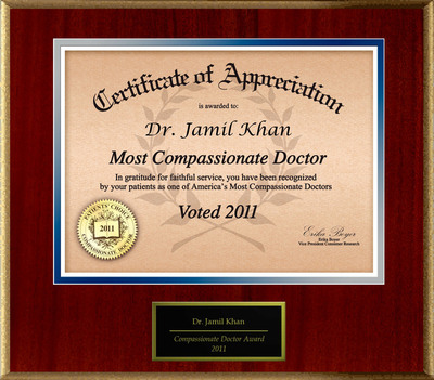 Dr. Jamil H Khan of Clermont, FL is Honored as a Compassionate Doctor.  (PRNewsFoto/American Registry)