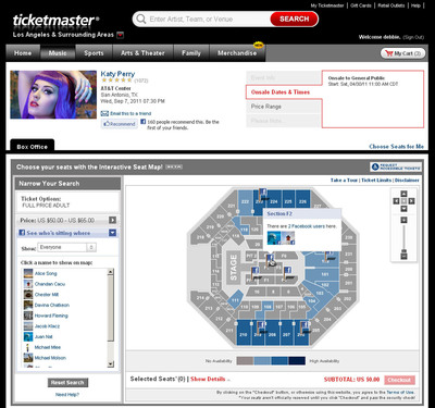 TICKETMASTER UNVEILS INTERACTIVE SEAT MAPS INTEGRATED WITH FACEBOOK.  (PRNewsFoto/Ticketmaster)