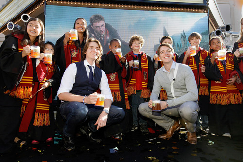 James and Oliver Phelps, who portray Fred and George Weasley in the Harry Potter films, were joined by some ...