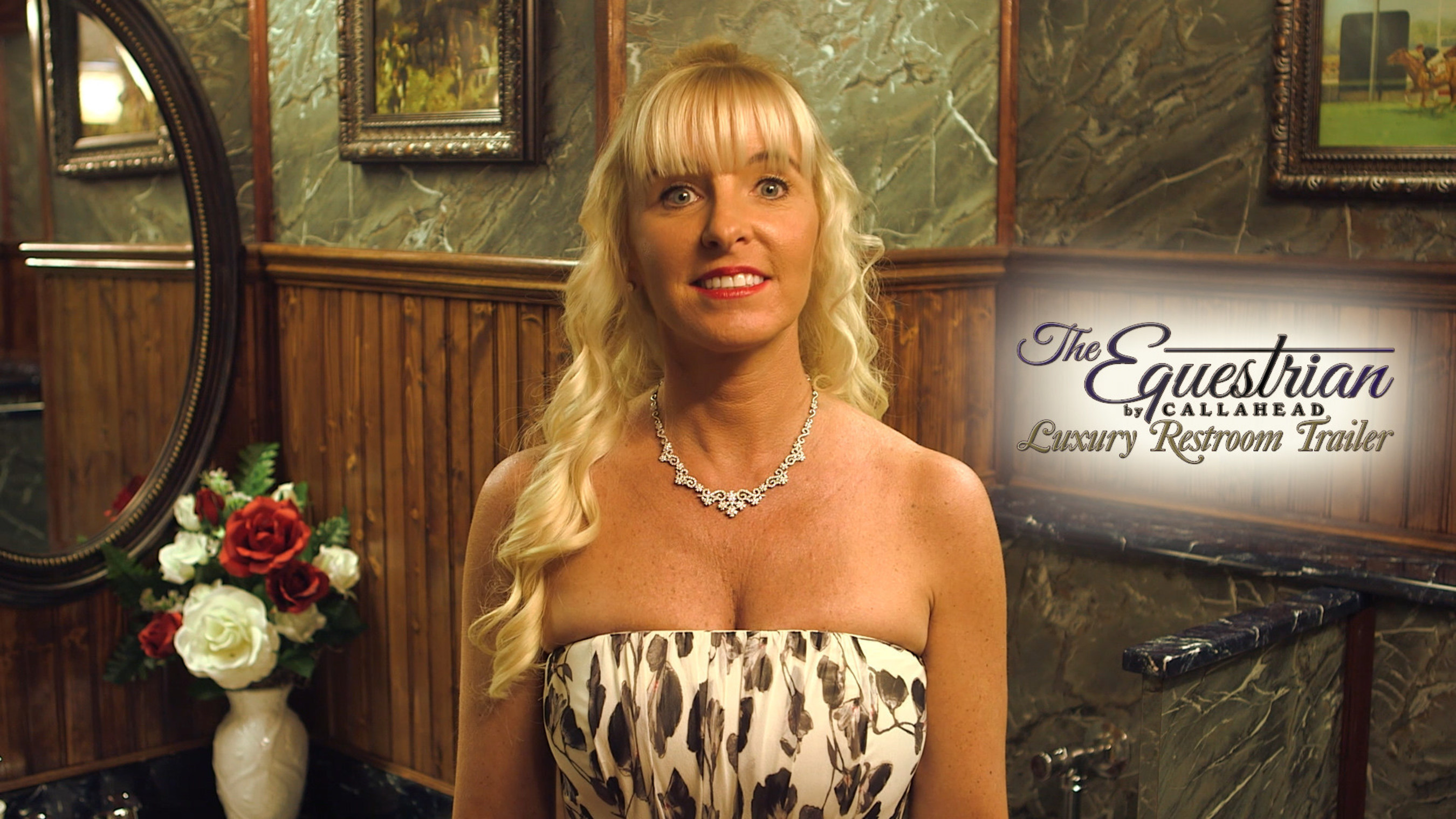 Kimberly Howard inside The Equestrian Luxury Restroom Trailer by CALLAHEAD Corp.
