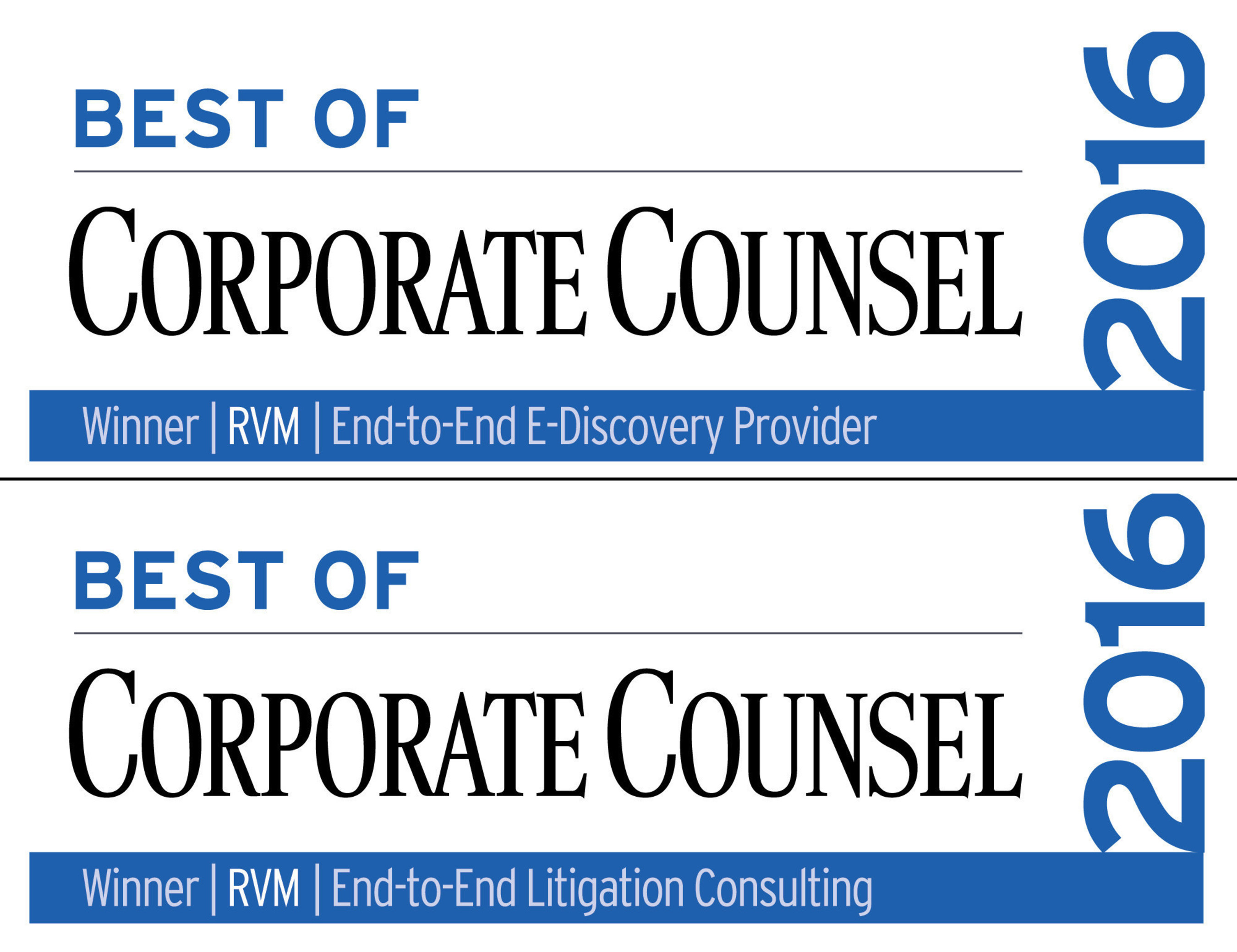 RVM named Best End-to-End eDiscovery Provider and Best End-to-End Litigation Consulting Provider by Corporate Counsel Magazine