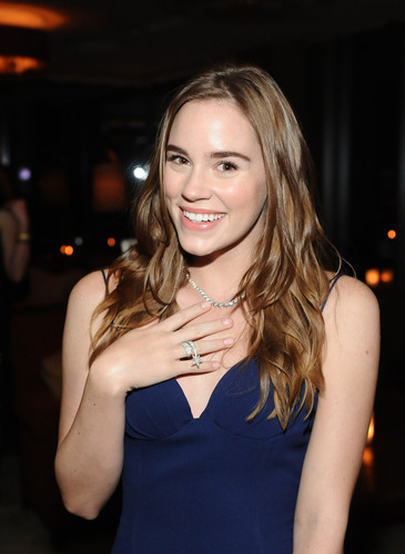 Actress Christa B. Allen, star of Revenge, shows off her Hearts On Fire diamond necklace and ring at the ELLE ...