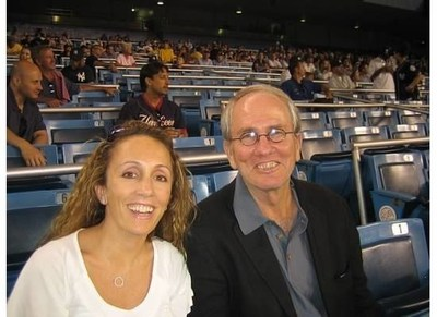 Samantha Myers, Affiliate Chair for the Pancreatic Cancer Action Network's New York City Affiliate, attending a New York Yankees baseball game with her father, Dick Myers, who lost his battle with pancreatic cancer a few short months after diagnosis.
