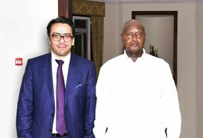 The photo was taken in the meeting in Ugandan capital Kampala on November 22. The HE Uganda president Museveni is on the right side of the photo and Dr. Faisel Gergab, LPTIC Chairman is on the left side of the photo. (PRNewsFoto/LPTIC)