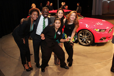 Ford HBCU Community Challenge Winners With All-New Mustang.  (PRNewsFoto/Ford Motor Company)