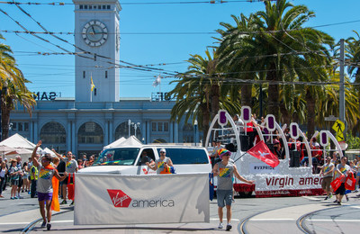 "Virgin America, San Francisco's hometown airline, is proud to support the LGBT community and serve as the ""Official Airline of San Francisco Pride"" for the ninth consecutive year. HIV Activist and ""Mean Girls"" and ""Looking"" actor Daniel Franzese will join more than 500 Virgin America teammates, friends and family at the 46th Annual San Francisco Pride Celebration and Parade. The airline will be sharing the pride experience online with the hashtag #VXPride - and invites flyers from all over the country to do the same. With fleetwide in-flight WiFi, signature moodlighting, power outlets at every seat and the Red(R) in-flight entertainment system with a seat-to-seat delivery and chat system that allows guests to connect with others at 35,000 feet, LGBT travelers can fly with pride on the ""Official Airline of San Francisco Pride."""