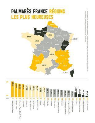 Carte des régions de la France selon leur Indice de bonheur (IRB) respectif. (PRNewsFoto/IRB)