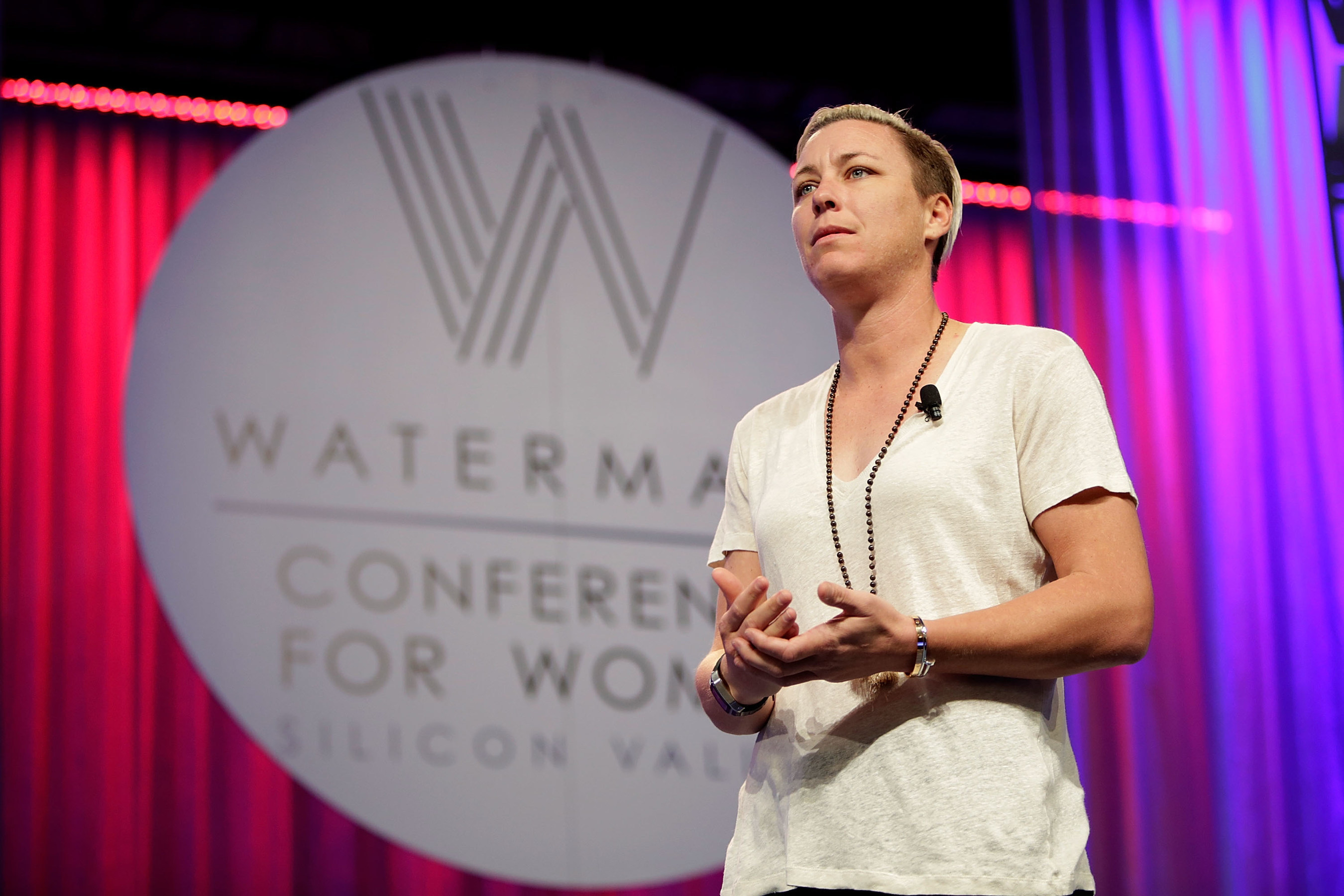 San Jose, CA, APRIL 21, 2016 - Retired women's soccer superstar Abby Wambach told 6,500 Watermark Conference for Women Silicon Valley attendees that she is dedicating her post-game career to a new goal - achieving gender pay equity. Attendees also heard from Mindy Kaling, actor, producer, director and best-selling author, John Jacobs, co-founder and chief creative optimist of the Life is good(R) company, Leila Janah, CEO, Sama and Laxmi, and award-winning social entrepreneur and author, Cindi Leive, editor-in-chief of Glamour, and Pattie Sellers, executive director of Fortune MPW Live Content, Time Inc. PHOTO BY MARLA AUFMUTH/GETTY IMAGES FOR WATERMARK