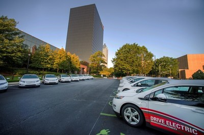 Georgia Power rolls out new fleet of EVs, pictured here in front of its Atlanta headquarters.