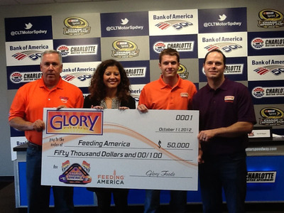 Race To Feeding America Campaign Donates $50,000 To Feeding America To Benefit Child Hunger Relief Efforts.  (PRNewsFoto/Glory Foods)