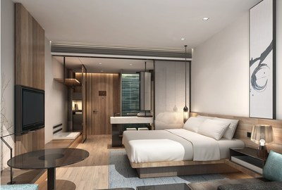 "Marriott International and Eastern Crown partner to launch ""Fairfield by Marriott(R)"" a new affordable mid-range hotel for travelers across China. Rendering of Fairfield Hotel Standard guest room."