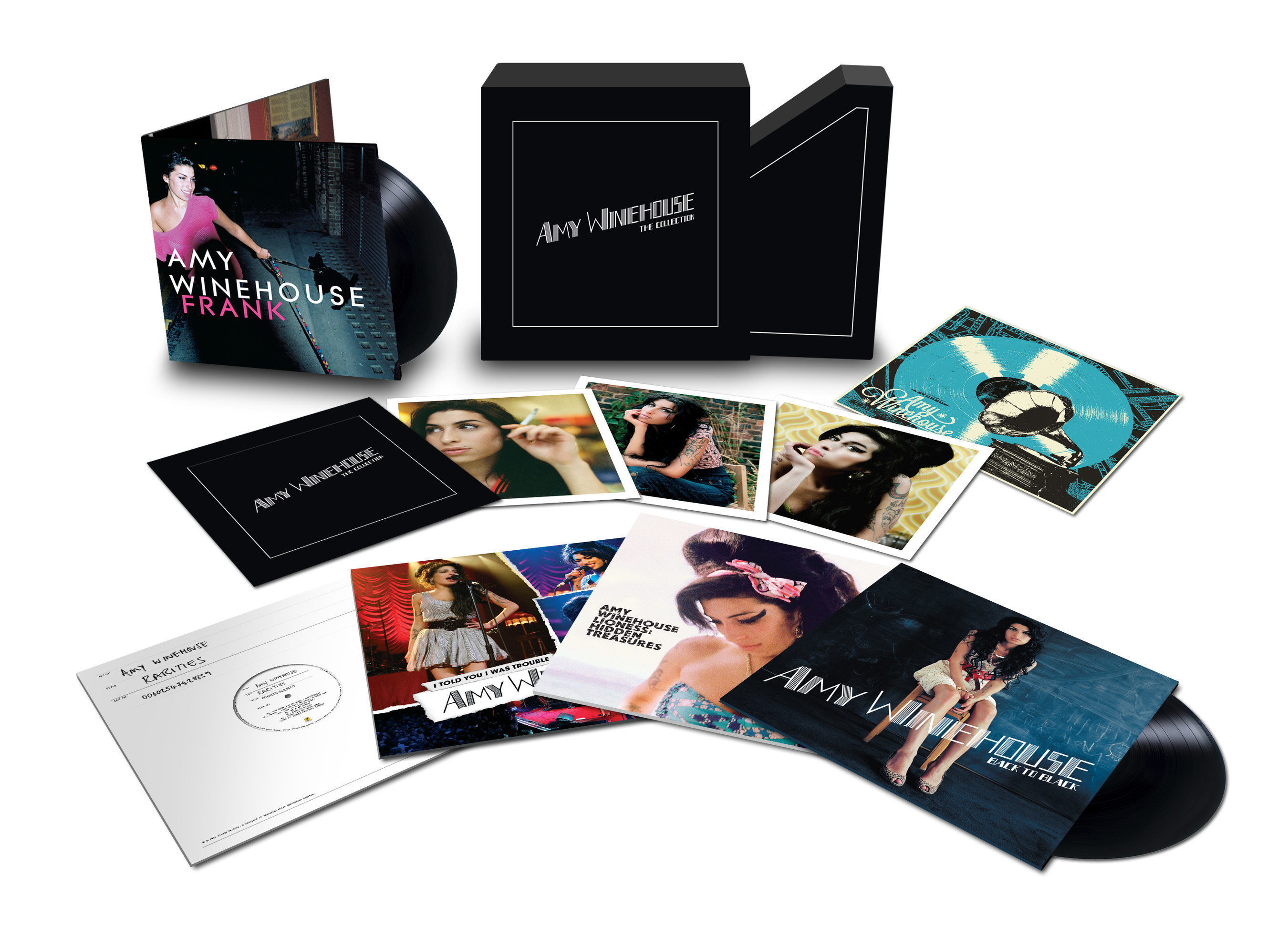 Amy Winehouse - The Collection box set, to be released on December 11th, is a lovingly assembled and beautifully packaged collection. Each LP will be pressed onto 180-gram vinyl and the box will also include a bespoke litho print and an exclusive set of photographs taken from the commissioned photo sessions for Frank and Back To Black.