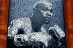 Floyd Mayweather mosaic made by Mark Kennedy on display in Manchester City Center, to be auctioned on Vegas fight night in Manchester Hilton January 31st.