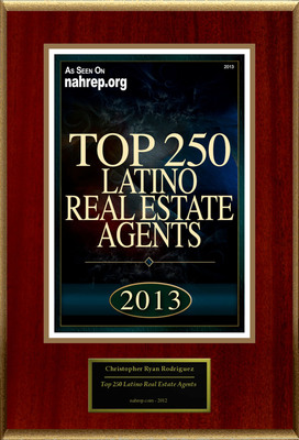"""Christopher Ryan Rodriguez Selected For """"Top 250 Latino Real Estate Agents"""". (PRNewsFoto/American Registry) (PRNewsFoto/AMERICAN REGISTRY)"""