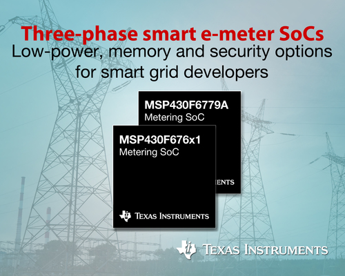 Texas Instruments expands portfolio of three-phase smart e-meter SoCs with low power, memory and security options. Scalable solutions leverage advanced integrated analog and software implementations to provide flexibility across a wide range of design requirements. (PRNewsFoto/Texas Instruments)
