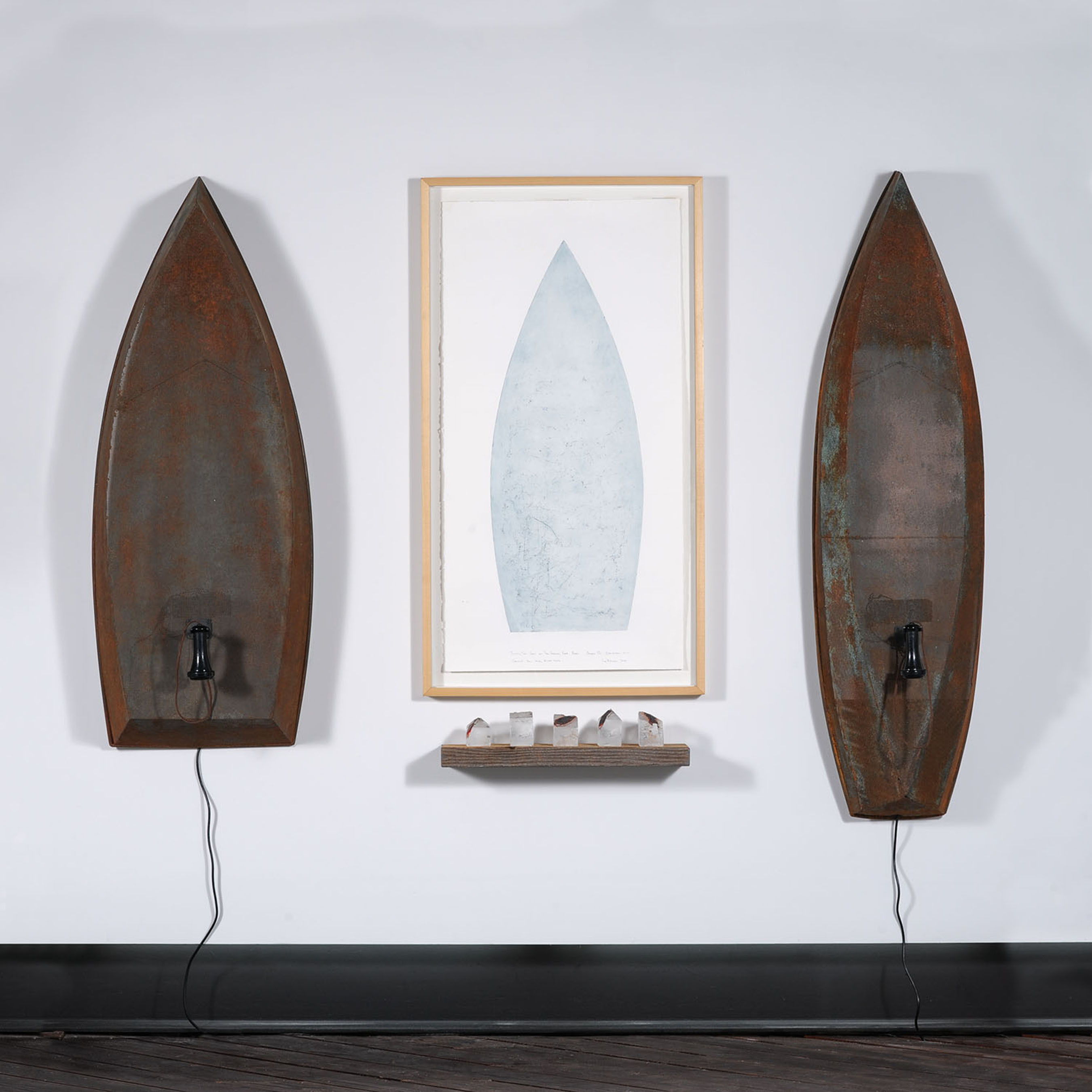 Skiff/Trow interactive boat sculptures. Viewer hears roaring river. Print made by river rocks on copper plate. Cast glass houses of copper and wood all by Lawrence LaBianca, photo by Tom Grotta.  (PRNewsFoto/browngrotta arts, Tom Grotta)