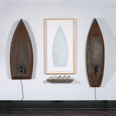 Skiff/Trow interactive boat sculptures. Viewer hears roaring river. Print made by river rocks on copper plate. Cast glass houses of copper and wood all by Lawrence LaBianca, photo by Tom Grotta. (PRNewsFoto/browngrotta arts, Tom Grotta) (PRNewsFoto/BROWNGROTTA ARTS)