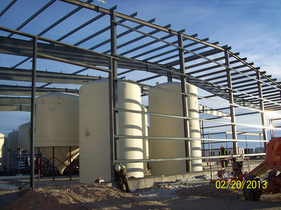 Various tanks used for water storage and the elution and precipitation processes.  (PRNewsFoto/Ur-Energy Inc.)