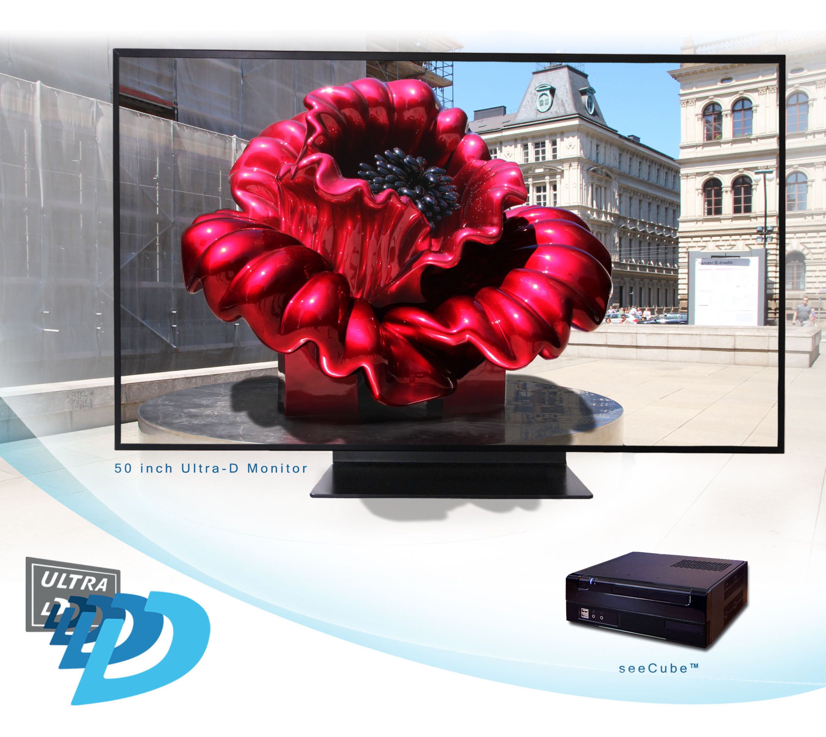 Ultra-D displays have real-time conversion technology that converts 2D or 3D source content into 4K glasses-free 3D. (PRNewsFoto/Stream TV Networks, Inc.) (PRNewsFoto/STREAM TV NETWORKS, INC.)