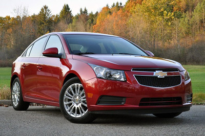 The 2012 Chevy Cruze Eco and Sonic were named Best Family Cars of 2012 by Edmunds.com and Parents magazine and are available at Chevrolet of Naperville.  (PRNewsFoto/Chevrolet of Naperville)