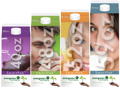 Evergreen Packaging(R) announced the introduction of SmartPak(TM) Cartons in a new cross-section with 40 ounce, 48 ounce, 52 ounce and 59 ounce size options.