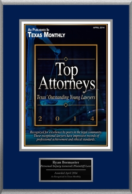 Attorney Ryan B. Bormaster Selected for List of Top Rated Lawyers in TX. (PRNewsFoto/American Registry)