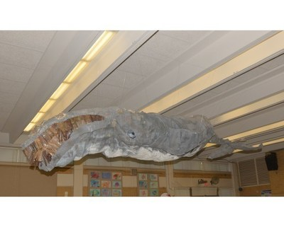 "Seabreeze Elementary School of Jacksonville Beach, Florida won the Made By Milk(TM) Carton Construction Contest People's Choice Award for their ""Whale of a Project"" - re-purposing more than 1,500 milk cartons!"
