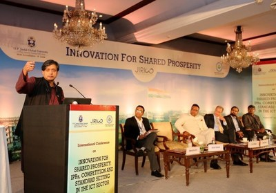 Dr. Shashi Tharoor, Member of Parliament and Chairman of the Parliamentary Standing Committee on External Affairs at the forum hosted by JIRICO of O.P. Jindal Global University. (PRNewsFoto/O.P. Jindal Global University)